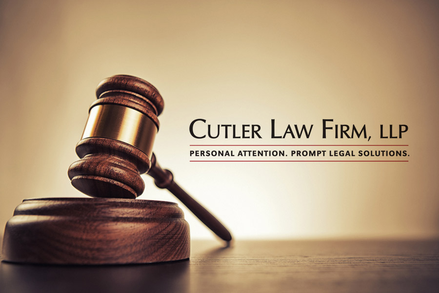 gavel with Cutler Law Firm logo
